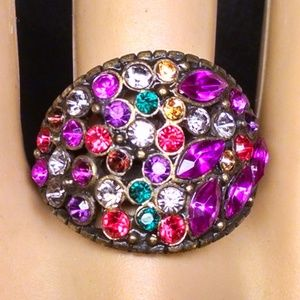Antique Style Multi Color Shiney Rhinestones Ring